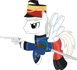 Size: 4386x4000 | Tagged: safe, artist:parclytaxel, oc, oc only, oc:mihály szekeres, pegasus, pony, .svg available, absurd resolution, angry, austro-hungarian, boots, clothes, coat, commission, dexterous hooves, flying, gasser m1870, gun, handgun, hat, hoof hold, hussar, male, pants, pistol, raised hoof, revolver, saber, shoes, simple background, solo, stallion, transparent background, tunic, uniform, vector, weapon, world war i