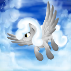 Size: 1000x1000 | Tagged: safe, artist:sa-loony, oc, oc only, oc:alice, pony, cloud mane, sky, solo