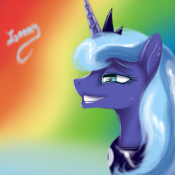 Size: 1000x1000 | Tagged: alicorn, artist:sa-loony, bust, female, grin, happy, horn, jewelry, mare, pony, portrait, princess luna, regalia, safe, smiling, solo, tiara
