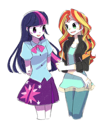 Size: 800x919 | Tagged: safe, artist:keep, sunset shimmer, twilight sparkle, equestria girls, cute, duo, female, pixiv, simple background, twilight sparkle (alicorn), white background