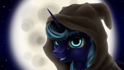 Size: 1024x576 | Tagged: safe, artist:sa-loony, princess luna, alicorn, pony, bust, female, grin, hood, horn, mare, moon, portrait, smiling, solo