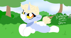 Size: 1980x1060 | Tagged: artist:nootaz, bush, female, grass, laying on stomach, mare, nootvember, nootvember 2019, oc, oc:nootaz, oc only, outdoors, pony, safe, sky, solo, tree, unicorn