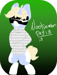 Size: 863x1131 | Tagged: :3, artist:nootaz, bipedal, clothes, female, gradient background, green background, hoodie, mare, nootvember, nootvember 2019, oc, oc:nootaz, oc only, pony, safe, semi-anthro, simple background, solo, sunglasses, unicorn