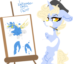 Size: 1188x1041 | Tagged: safe, artist:nootaz, oc, oc only, oc:nootaz, pony, unicorn, belly fluff, beret, bipedal, chest fluff, easel, female, hat, mare, nootvember, nootvember 2019, paintbrush, painting, self portrait, simple background, solo, transparent background