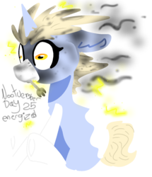 Size: 980x1140 | Tagged: safe, artist:nootaz, oc, oc only, oc:nootaz, pony, unicorn, alternate hairstyle, burned, derp, electricity, faic, female, fork, mare, nootvember, nootvember 2019, shocked, simple background, sitting, solo, transparent background