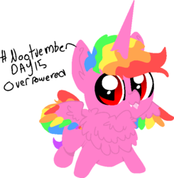 Size: 599x610   Tagged: safe, artist:nootaz, oc, oc only, oc:prince bloodshed, alicorn, pony, alicorn oc, colored wings, colt, fangs, looking at you, male, multicolored hair, multicolored wings, neck fluff, nootvember, nootvember 2019, rainbow hair, rainbow wings, simple background, solo, tongue out, transparent background, wings