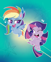 Size: 1360x1669 | Tagged: safe, artist:stuwor-art, rainbow dash, twilight sparkle, alicorn, pegasus, pony, my little pony: pony life, blushing, female, lesbian, shipping, twidash, twilight sparkle (alicorn)