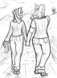 Size: 876x1200 | Tagged: safe, artist:fetishsketches, shining armor, twilight sparkle, anthro, plantigrade anthro, barefoot, barefooting, blushing, clothes, dirty feet, feet, flip flops, footprint, grayscale, jeans, monochrome, pants, siblings, signature, sketch