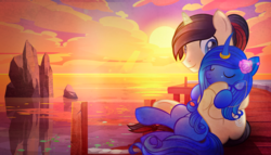 Size: 2990x1711   Tagged: source needed, safe, artist:rish--loo, oc, oc only, oc:eternal light, oc:nitrous hollowheart, alicorn, alicorn oc, blue eyes, cloud, cuddling, ear piercing, eyes closed, flower, flower in hair, glasses, glasses off, horn, looking at each other, ocean, pier, piercing, ponytail, ring, rock, sunset, water, wings