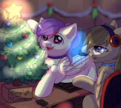 Size: 2732x2448 | Tagged: safe, artist:alphadesu, oc, oc only, oc:dawnsong, oc:evensong, earth pony, pegasus, pony, behaving like a cat, christmas, christmas tree, collar, computer, computer mouse, female, glasses, headphones, holiday, mare, siblings, sisters, tree, ych result
