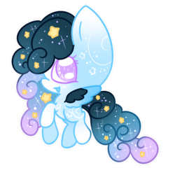 Size: 894x894 | Tagged: safe, artist:faeyrie, oc, oc:stellar constellation, pegasus, pony, chibi, ethereal mane, female, multicolored hair, simple background, sparkly eyes, sparkly mane, starry mane, stars, transparent background, two toned wings, wings