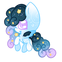 Size: 995x995 | Tagged: safe, artist:faeyrie, oc, oc:stellar constellation, pegasus, pony, chibi, ethereal mane, female, multicolored hair, simple background, sparkly eyes, sparkly mane, starry mane, stars, transparent background, two toned wings, wings