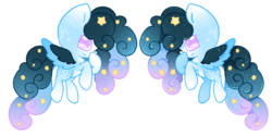 Size: 3400x1709 | Tagged: safe, artist:faeyrie, oc, oc:stellar constellation, pegasus, pony, adopted, ethereal mane, female, multicolored hair, simple background, sparkly eyes, sparkly mane, starry mane, stars, transparent background, two toned wings, wings
