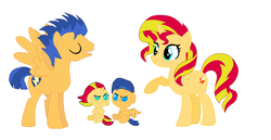 Size: 1030x530 | Tagged: safe, artist:springthornwillow, flash sentry, sunset shimmer, oc, oc:slugger, oc:sunbeam, pony, baby, baby pony, base used, colt, family, female, filly, flashimmer, floppy ears, generation xerox, male, offspring, parent:flash sentry, parent:sunset shimmer, parents:flashimmer, shipping, simple background, straight, white background