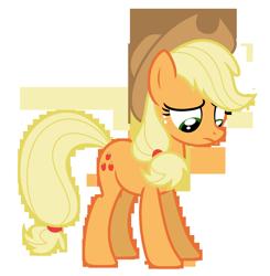 Size: 6382x6500 | Tagged: safe, artist:estories, applejack, pony, absurd resolution, hat, sad, simple background, solo, transparent background, vector