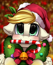 Size: 1446x1764 | Tagged: safe, artist:pridark, oc, oc:exist, pegasus, pony, bell, candy, candy cane, christmas, cute, food, hat, holiday, mouth hold, part of a set, paws, pridark's christmas ponies, santa hat, solo, wreath, ych result