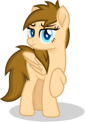 Size: 748x1069   Tagged: safe, artist:peahead, oc, oc only, oc:stellar winds, pegasus, pony, blue eyes, disgusted, female, folded wings, looking at you, mare, raised hoof, scowl, scowling, simple background, solo, standing, transparent background, vector, wings