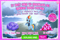 Size: 1557x1032 | Tagged: safe, rainbow dash, pegasus, pony, official, the last problem, advertisement, costs real money, crack is cheaper, gameloft, implied appledash, implied lesbian, implied shipping, older, older rainbow dash