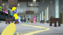 Size: 1920x1080 | Tagged: safe, screencap, cheese sandwich, pinkie pie, sans smirk, earth pony, pony, the last laugh, background pony, banana peel, female, male, mare, stallion, unnamed pony