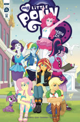 Size: 2063x3131 | Tagged: safe, artist:tonyfleecs, idw, applejack, fluttershy, pinkie pie, rainbow dash, rarity, sci-twi, spike, spike the regular dog, sunset shimmer, twilight sparkle, dog, equestria girls, equestria girls series, spoiler:comic, armpits, book, clothes, cover, denim skirt, dress, freckles, glasses, humane five, humane seven, humane six, jumping, march radness, miniskirt, pantyhose, ponytail, sitting, skirt, tanktop