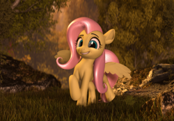 Size: 2684x1869 | Tagged: safe, artist:certedia, fluttershy, pegasus, pony, 3d, blender, blender eevee, bush, cute, explicit source, grass, hair, model:djthed, poster, rock, shyabetes, smiling, solo, tree, wings