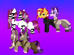 Size: 2048x1536 | Tagged: safe, artist:lightningbolt39, starlight glimmer, sunset shimmer, oc, oc:dawn light (ice1517), oc:dusk fire (ice1517), oc:evening glitter, oc:shadow shine, pony, unicorn, icey-verse, armor, belt, boots, brother and sister, clothes, cosplay, costume, family, female, first order, gradient background, helmet, kylo ren, lesbian, magical lesbian spawn, male, mare, mother and daughter, mother and son, offspring, pants, parent:starlight glimmer, parent:sunset shimmer, parents:shimmerglimmer, resistance, rey, reylo, robe, shimmerglimmer, shipping, shirt, shoes, siblings, sisters, stallion, star wars, stormtrooper, twins