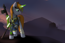 Size: 3000x2000 | Tagged: safe, artist:vinaramic, oc, oc only, oc:littlepip, pony, unicorn, fallout equestria, bandage, clothes, fanfic, fanfic art, female, glowing horn, gun, hooves, horn, levitation, magic, mare, optical sight, pipbuck, rifle, scope, shotgun, sniper rifle, solo, telekinesis, vault suit, wasteland, weapon