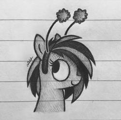 Size: 2048x2025   Tagged: safe, artist:modocrisma, oc, oc only, oc:wooden toaster, pegasus, pony, antennae, doodle, female, headband, lined paper, monochrome, musician, pencil drawing, photo, solo, traditional art, watermark