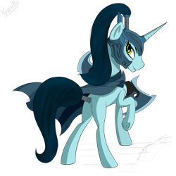 Size: 2449x2449 | Tagged: safe, artist:vinaramic, pony, unicorn, blank flank, cloak, clothes, dota 2, female, helmet, looking back, mare, phantom assasin, ponified, simple background, transparent background