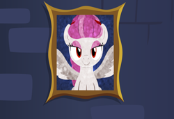 Size: 3300x2256 | Tagged: safe, artist:badumsquish, derpibooru exclusive, oc, ghost, object pony, original species, pegasus, pony, portrageist, braid, bust, eyeshadow, female, frown, hairband, looking at you, makeup, painting, picture frame, ponified, portrait, red eyes, smiling, solo, wall, wings