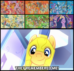 Size: 1138x1083 | Tagged: safe, edit, edited screencap, screencap, aloe, angel bunny, apple bloom, apple rose, applejack, auntie applesauce, autumn blaze, babs seed, berry punch, berryshine, big daddy mccolt, big macintosh, bon bon, boneless, boneless 2, bow hothoof, braeburn, bright mac, bulk biceps, burnt oak, capper dapperpaws, carrot cake, cattail, cheerilee, cheese sandwich, cherry jubilee, clear sky, cloudy quartz, coco pommel, coloratura, cranky doodle donkey, cup cake, daring do, derpy hooves, diamond tiara, discord, dj pon-3, doctor fauna, doctor muffin top, doctor whooves, double diamond, fancypants, featherweight, flam, flash magnus, flash sentry, flim, fluttershy, gabby, gallus, garble, gentle breeze, gilda, goldie delicious, grand pear, granny smith, gummy, hoity toity, igneous rock pie, iron will, limestone pie, little strongheart, lotus blossom, luster dawn, lyra heartstrings, marble pie, matilda, maud pie, mayor mare, meadowbrook, mistmane, moondancer, mudbriar, night glider, night light, nurse redheart, ocellus, octavia melody, opalescence, owlowiscious, party favor, pear butter, pharynx, photo finish, pinkie pie, pipsqueak, plaid stripes, posey shy, pound cake, prince rutherford, princess cadance, princess celestia, princess ember, princess flurry heart, princess luna, pumpkin cake, quibble pants, rainbow dash, rarity, rockhoof, roseluck, rumble, saffron masala, sandbar, sassy saddles, scootaloo, shining armor, silver spoon, silverstream, sky beak, sky stinger, smolder, snails, snips, soarin', somnambula, spike, spitfire, star swirl the bearded, starlight glimmer, stygian, sugar belle, sunburst, sunset shimmer, sweetie belle, sweetie drops, tank, tempest shadow, tender taps, terramar, thunderlane, time turner, tree hugger, trixie, trouble shoes, twilight sparkle, twilight velvet, twist, vapor trail, vinyl scratch, wind sprint, windy whistles, winona, yona, zecora, zephyr breeze, zippoorwhill, abyssinian, alicorn, breezie, buffalo, changedling, changeling, draconequus, dragon, earth pony, griffon, hippogriff, kirin, minotaur, pegasus, pony, rabbit, tortoise, unicorn, yak, zebra, equestria girls, equestria girls (movie), my little pony: the movie, season 9, the last problem, spoiler:s09e26, animal, bloodstone scepter, caption, cute, cutie mark crusaders, diasentres, dragon lord ember, finale, flying, galloping, granny smith's scarf, leaping, mane six, mccolt family, older, older applejack, older fluttershy, older mane 6, older pinkie pie, older rainbow dash, older rarity, older spike, older twilight, prince pharynx, princess twilight 2.0, pronking, shyabetes, skunk stripe, subverted meme, the magic of friendship grows, they forgot about me, trotting, twilight sparkle (alicorn), wall of tags, wind spring, winged spike