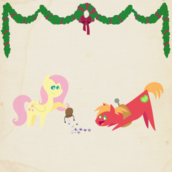 Size: 2000x2000 | Tagged: safe, anonymous artist, big macintosh, fluttershy, pony, series:12 days of hearth's warming, series:fm holidays, 12 days of christmas, bag, big eyes, border, christmas, christmas wreath, cute, dice, female, fluttermac, garland, happy, hearth's warming, holiday, macabetes, male, pointy ponies, shipping, smiling, straight, texture, wreath