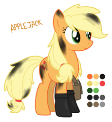 Size: 821x893 | Tagged: safe, artist:modocrisma, applejack, earth pony, pony, alternate design, alternate universe, au:lbau, boots, clothes, color palette, female, hair tie, mare, oil, reference sheet, satchel, shoes, show accurate, simple background, solo, stains, watermark, white background