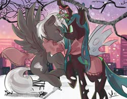 Size: 1011x790   Tagged: safe, queen chrysalis, oc, oc:black t0rnado, pegasus, pony, canon x oc, christmas, christmas changeling, city, cityscape, clothes, holiday, holly, holly mistaken for mistletoe, love, scarf, surprised, tree, winter