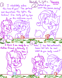 Size: 4779x6013 | Tagged: safe, artist:adorkabletwilightandfriends, rarity, twilight sparkle, alicorn, pony, unicorn, comic:adorkable twilight and friends, adorkable, adorkable twilight, christmas, comic, confidence, conversation, cute, dork, drink, friends, friendship, garland, hearth's warming, holiday, insult, insulted, mug, pinecone, raribitch, relationship, romance, self confidence, slice of life, twilight sparkle (alicorn), unintentional