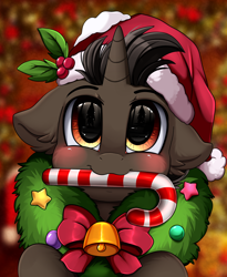 Size: 1446x1764 | Tagged: safe, artist:pridark, oc, oc:saffronic shadow, pony, unicorn, bell, blushing, candy, candy cane, christmas, commission, cute, food, hat, holiday, mouth hold, ocbetes, pridark's christmas ponies, santa hat, solo, wreath, ych result