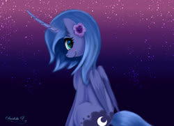 Size: 4500x3250 | Tagged: safe, artist:darksly, princess luna, alicorn, pony, cute, female, filly, flower, flower in hair, looking at you, looking back, lunabetes, smiling, solo, stars, woona, younger