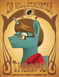 Size: 500x647 | Tagged: safe, artist:samoht-lion, oc, oc only, oc:dawillstanator, pony, unicorn, clothes, glasses, horn, male, smiling, solo, stallion, text, unicorn oc