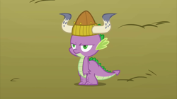 Size: 2880x1618 | Tagged: safe, screencap, spike, dragon, fall weather friends, helmet, horned helmet, male, solo, spike is not amused, unamused, viking helmet