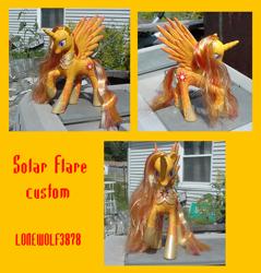 Size: 1474x1539 | Tagged: safe, artist:lonewolf3878, princess celestia, oc, oc:solar flare, alicorn, pony, brushable, chest plate, custom, female, irl, photo, slit eyes, snake eyes, toy