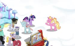 Size: 1045x644 | Tagged: safe, bon bon, buck withers, derpy hooves, luster dawn, maud pie, ocellus, pacific glow, quarterback, sweetie drops, twilight sparkle, alicorn, changedling, changeling, earth pony, pegasus, pony, unicorn, clothes, costume, crown, game screencap, gameloft, gameloft shenanigans, guard, jewelry, regalia, snow, twilight sparkle (alicorn)
