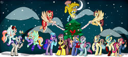 Size: 8278x3720 | Tagged: safe, artist:appleneedle, oc, oc:aerial agriculture, oc:earthing elements, oc:heartstrong flare, oc:king calm merriment, oc:king righteous authority, oc:king speedy hooves, oc:princess healing glory, oc:princess mythic majestic, oc:princess sincere scholar, oc:princess young heart, oc:queen fresh care, oc:queen galaxia, oc:queen motherly morning, oc:tommy the human, alicorn, pony, alicorn oc, alicorn princess, alicornified, aunt and nephew, aunt and niece, beanie, bowtie, candy, candy cane, chocolate, christmas cookies, christmas star, clothes, collar, commission, commissioner:bigonionbean, cookie, cowboy hat, crescent moon, cupcake, father and daughter, father and son, female, food, fusion, fusion: princess healing glory, fusion:aerial agriculture, fusion:earthing elements, fusion:heartstrong flare, fusion:king calm merriment, fusion:king righteous authority, fusion:king speedy hooves, fusion:princess mythic majestic, fusion:princess sincere scholar, fusion:princess young heart, fusion:queen fresh care, fusion:queen galaxia, fusion:queen motherly morning, grandfather and granddaughter, grandfather and grandson, grandmother and granddaughter, grandmother and grandson, grandparents, hat, hearth's warming, hearth's warming eve, hot chocolate, husband and wife, magic, male, moon, mother and daughter, mother and son, mountain, night, ornaments, race swap, scarf, socks, sweater, ugly sweater, uncle and nephew, uncle and niece, writer:bigonionbean