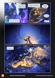 Size: 3541x5016 | Tagged: safe, artist:freeedon, artist:lummh, oc, oc only, oc:appolonia, pony, unicorn, comic:the lost sun, blizzard, book, comic, dialogue, ear piercing, female, flashback, levitation, magic, mare, patreon, patreon logo, piercing, self-levitation, snow, snowfall, speech bubble, talking to herself, telekinesis