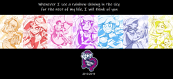 Size: 1565x720   Tagged: safe, artist:lunchie, edit, angel bunny, applejack, fluttershy, pinkie pie, rainbow dash, rarity, sunset shimmer, twilight sparkle, equestria girls, equestria girls series, caption, cider, equestria girls logo, football, glasses, humane five, humane seven, humane six, image macro, limited palette, shine like rainbows, song reference, sports, text, text edit, the end of equestria girls, tribute