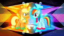 Size: 3840x2160 | Tagged: safe, artist:laszlvfx, artist:philiptomkins, edit, applejack, rainbow dash, earth pony, pegasus, pony, absurd file size, clothes, cowboy hat, cutie mark, freckles, hat, high res, implied appledash, implied lesbian, implied shipping, scarf, smiling, stetson, wallpaper, wallpaper edit