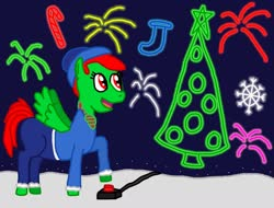 Size: 1280x972   Tagged: safe, artist:sb1991, oc, oc:fire sparks, pegasus, pony, candy, candy cane, christmas, christmas stocking, christmas tree, clothes, fireworks, food, hearth's warming, hearth's warming eve, holiday, snow, snowflake, stockings, thigh highs, tree
