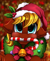 Size: 1446x1764 | Tagged: safe, artist:pridark, oc, oc only, pegasus, pony, bell, blushing, candy, candy cane, christmas, commission, cute, food, hat, holiday, mouth hold, ocbetes, pridark's christmas ponies, santa hat, solo, wreath, ych result