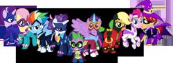 Size: 1082x397 | Tagged: safe, artist:notlikelyanartist, artist:slowlydazzle, artist:truereflections101, edit, vector edit, applejack, fili-second, fluttershy, humdrum, masked matter-horn, mistress marevelous, pinkie pie, radiance, rainbow dash, rarity, saddle rager, spike, starlight glimmer, sunset shimmer, twilight sparkle, zapp, alicorn, dragon, pony, female, male, mane seven, mane six, power ponies, simple background, transparent background, twilight sparkle (alicorn), vector, villainous vigilante
