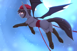 Size: 3600x2400   Tagged: safe, artist:chapaevv, oc, oc:nyn indigo, original species, timber pony, timber wolf, christmas, hat, holiday, male, moon, patreon, patreon reward, santa hat, solo, species swap, wings