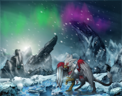 Size: 3750x2943 | Tagged: safe, artist:jesterpi, oc, oc:gideon, griffon, armor, aurora, aurora borealis, blizzard, cave, chainmail, cloth, epic, grand, griffon oc, high quality, high res, hunt, ice, metal wing, mountain, on the hunt, paws, plushie, river, rock, shadow, snow, snowfall, splash, standing, sun, sword, talons, weapon